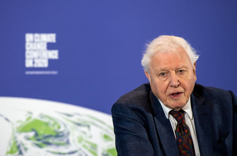 FILE PHOTO: David Attenborough speaks during a conference about the UK-hosted COP26 UN Climate Summit, at the Science Museum in London