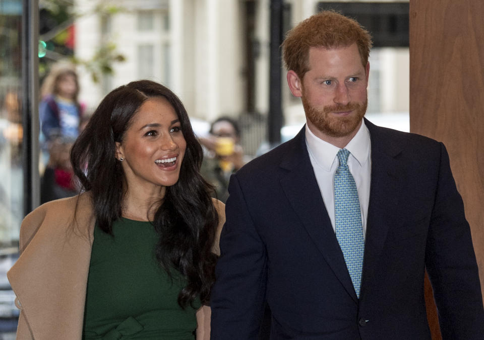 LONDON, ENGLAND - OCTOBER 15: Prince Harry, Duke of Sussex and Meghan, Duchess of Sussex attend the WellChild awards at Royal Lancaster Hotel on October 15, 2019 in London, England. (Photo by Mark Cuthbert/UK Press via Getty Images)