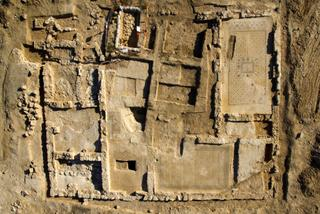 An aerial view of the monastery excavated near Hura.