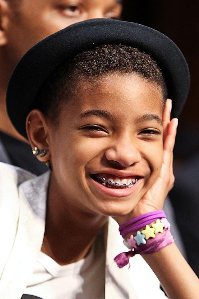 "WASHINGTON, DC - JULY 17:  Willow Smith smiles for the camera during a testimony at the ""The Next Ten Years In The Fight Against Human Trafficking: Attacking The Problem With The Right Tools"" Committee Hearing at the Hart Senate Office Building on July 17, 2012 in Washington, DC.  (Photo by Paul Morigi/WireImage)"