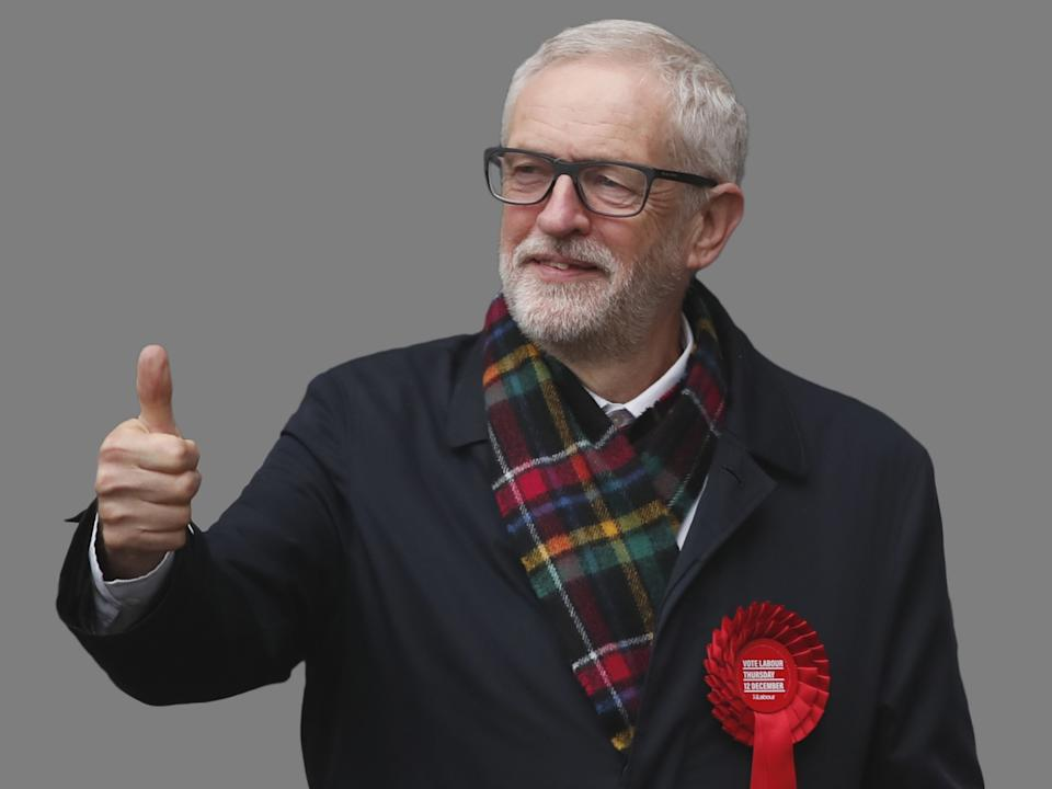 Jeremy Corbyn, as British opposition Labour Party leader, gestures after casting his vote in the general election, Islington, London, England, graphic element on gray