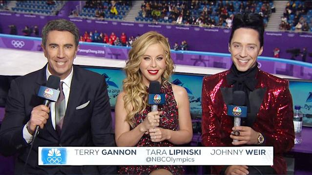 <p>America's favorite broadcasting duo, former Olympic stars Tara Lipinski and Johnny Weir, are joined by veteran announcer Terry Gannon to call the most high profile sport of the Games.<br><br>(Instagram/@taralipinski) </p>