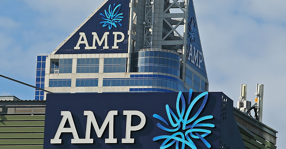 AMP sign and logo sitting on top of the AMP building