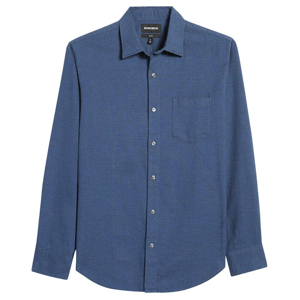 """<p><strong>Bonobos</strong></p><p>nordstrom.com</p><p><a href=""""https://go.redirectingat.com?id=74968X1596630&url=https%3A%2F%2Fwww.nordstrom.com%2Fs%2Fbonobos-slim-fit-button-up-shirt%2F5526515&sref=https%3A%2F%2Fwww.esquire.com%2Fstyle%2Fmens-fashion%2Fg35967248%2Fnordstrom-mens-sale-march-2021%2F"""" rel=""""nofollow noopener"""" target=""""_blank"""" data-ylk=""""slk:Shop Now"""" class=""""link rapid-noclick-resp"""">Shop Now</a></p><p><strong><del>$98.00</del> $49.00 (50% off)</strong></p><p>For those (less and less rare) non-T-shirt days.</p>"""