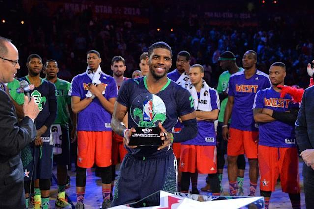 NEW ORLEANS, LA - FEBRUARY 16: Kyrie Irving #2 of the Eastern Conference is awarded the KIA Motors MVP Award after the 2014 NBA All-Star Game at Smoothie King Center on February 15, 2014 in New Orleans, Louisiana. (Photo by Jesse D. Garrabrant/NBAE via Getty Images)
