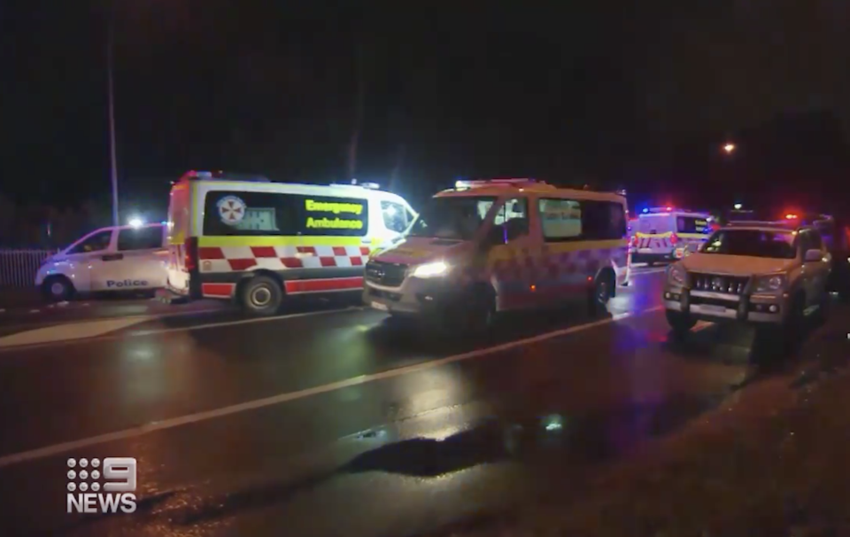 A crash scene at Rooty Hill Road North North, Plumpton, is pictured.