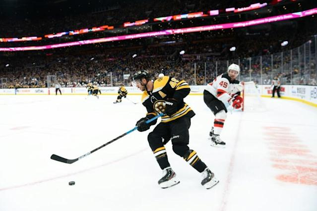 Boston's David Krejci, a Czech Republic native, could play in his homeland next season as the NHL announced Friday that the Bruins will play Nashville in Prague to open the 2020-21 season (AFP Photo/Kathryn Riley)