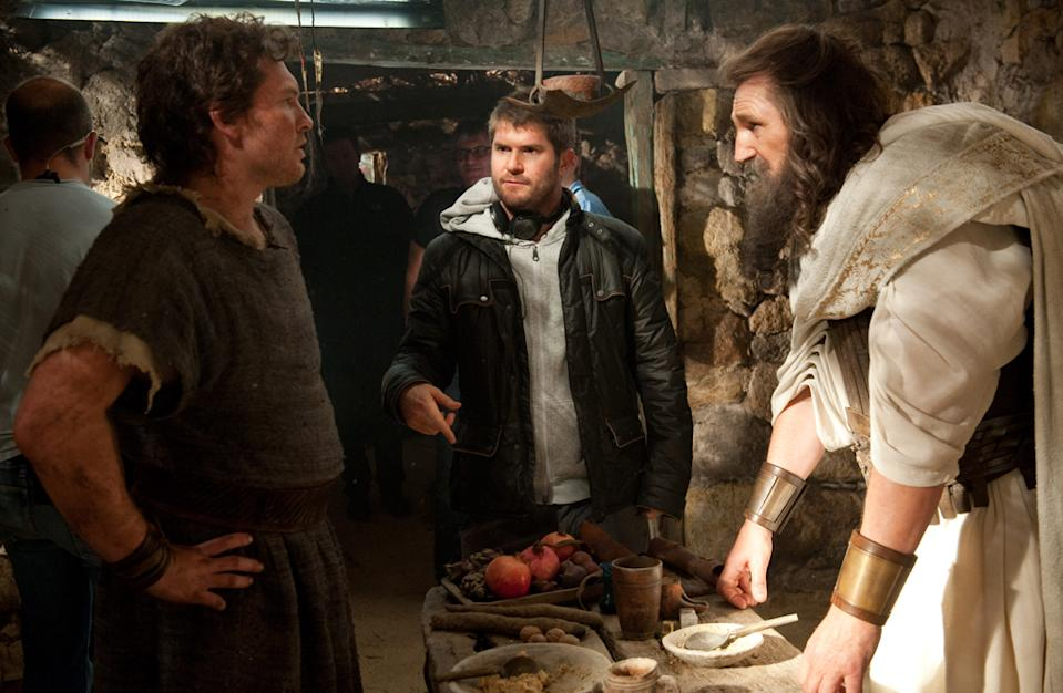 "Sam Worthington, Jonathan Leibesman and Liam Neeson on the set of Warner Bros. Pictures' <a href=""http://movies.yahoo.com/movie/wrath-of-the-titans/"" data-ylk=""slk:Wrath of the Titans"" class=""link rapid-noclick-resp"">Wrath of the Titans</a> - 2012"