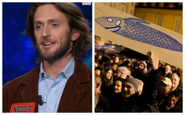Niccolò Pagani, Sardine in piazza (Photo: screenshot from rai uno - reuters)