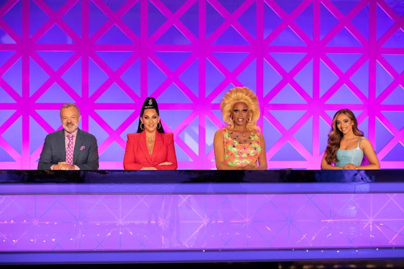 The panel: Graham Norton, Michelle, RuPaul and guest Jade Thirlwall on the UK version of RuPaul's Drag Race (BBc Pictures/World of Wonder )