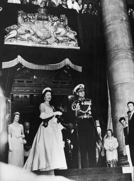 <p>During the opening of the New Zealand parliament, Queen Elizabeth II and Prince Philip take a moment for the royal salute and national anthem.</p>