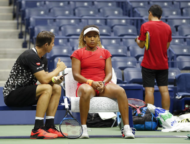 Naomi Osaka, of Japan, takes a break while practicing before playing Serena Williams in the finals of the U.S. Open tennis tournament, Saturday, Sept. 8, 2018, in New York. (AP Photo/Adam Hunger)