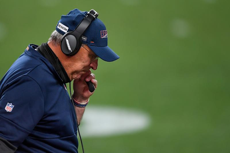 DENVER, CO - SEPTEMBER 14: Head coach Vic Fangio of the Denver Broncos reacts on the sideline late in a game against the Tennessee Titans at Empower Field at Mile High on September 14, 2020 in Denver, Colorado. (Photo by Dustin Bradford/Getty Images)