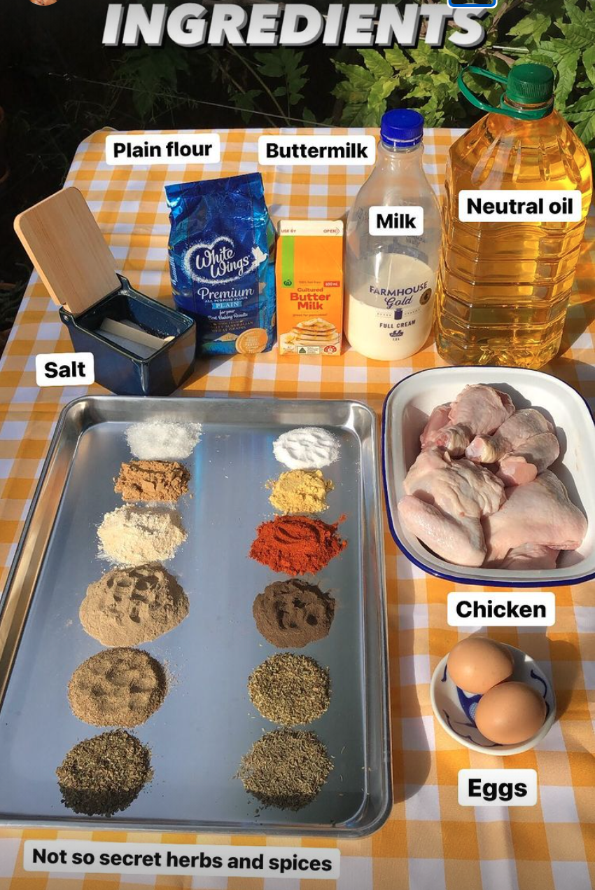 Ingredients for KFC recipe laid out on table
