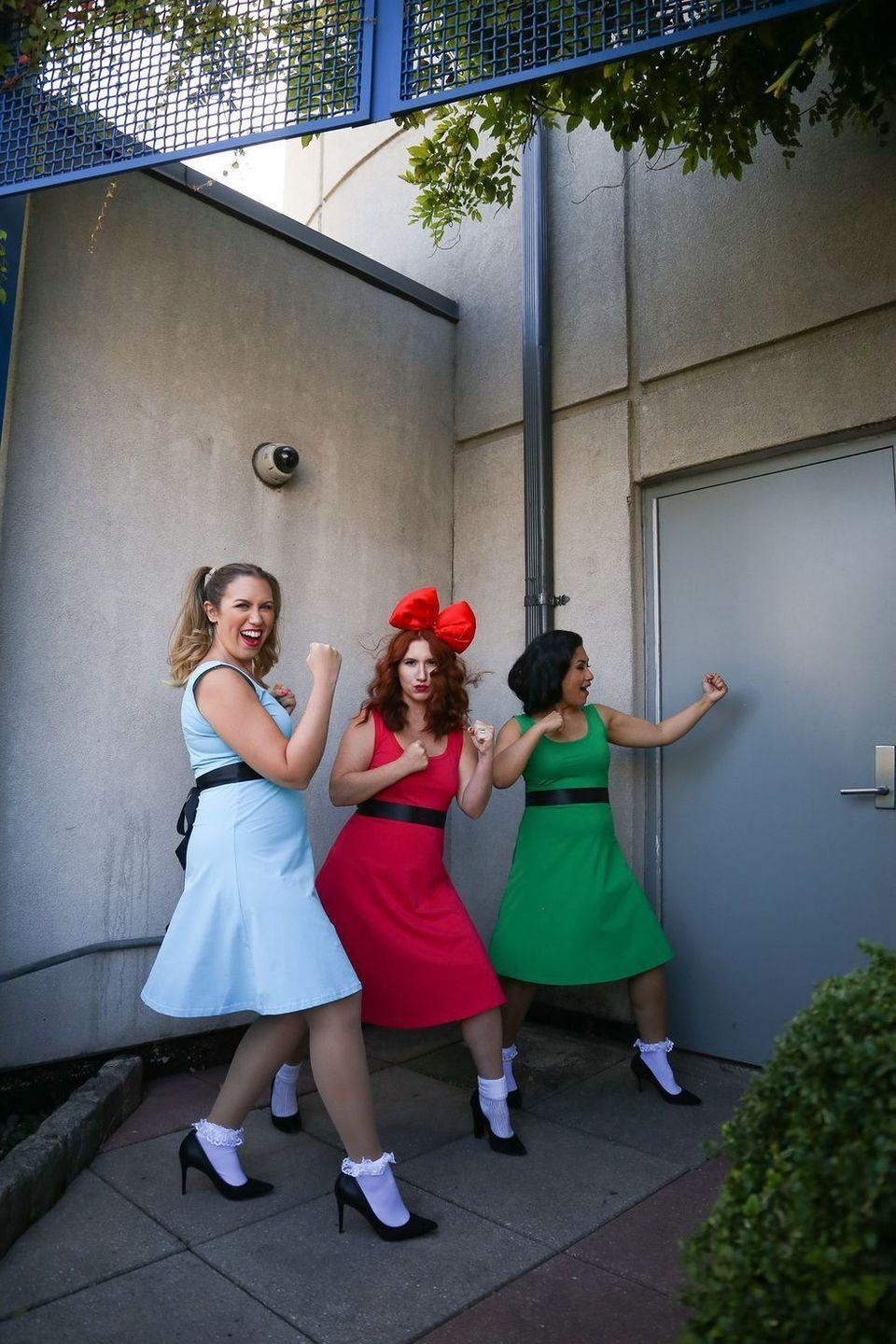 """<p>Odds are, you spent hours watching <em>The Powerpuff Girls</em> on TV as a kid. This nostalgia-inducing costume is simple enough to re-create, and it'll have all of your other friends excitedly reminiscing. </p><p><strong>Get the tutorial at <a href=""""http://livingaftermidnite.com/2019/10/group-halloween-costumes-that-will-win-you-best-dressed.html"""" rel=""""nofollow noopener"""" target=""""_blank"""" data-ylk=""""slk:Living After Midnite"""" class=""""link rapid-noclick-resp"""">Living After Midnite</a>.</strong></p><p><a class=""""link rapid-noclick-resp"""" href=""""https://go.redirectingat.com?id=74968X1596630&url=https%3A%2F%2Fwww.walmart.com%2Fsearch%2F%3Fquery%3Druffle%2Bsocks&sref=https%3A%2F%2Fwww.thepioneerwoman.com%2Fhome-lifestyle%2Fcrafts-diy%2Fg37066817%2Fhalloween-costumes-for-3-people%2F"""" rel=""""nofollow noopener"""" target=""""_blank"""" data-ylk=""""slk:SHOP RUFFLE SOCKS""""><strong>SHOP RUFFLE SOCKS</strong></a></p>"""