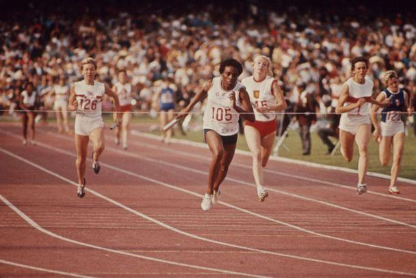 PHOTO: Wyomia Tyus wins the 100 meter relay event at the 1968 Summer Olympics in Mexico City. (ABC Photo Archives via Getty Images, FILE)