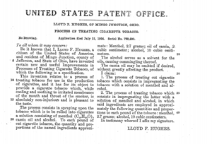 Original United States patent for menthol cigarettes filed in 1924 by Lloyd Hughes of Ohio[2], where TAAT™ has recently introduced its tobacco-free and nicotine-free combustible product with menthol flavouring