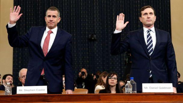 PHOTO: Republican staff attorney Steve Castor and Democratic staff attorney Daniel Goldman and are sworn in to testify as the House Judiciary Committee in the impeachment inquiry of President Donald Trump, Dec. 9, 2019, on Capitol Hill. (Alex Brandon/AP)
