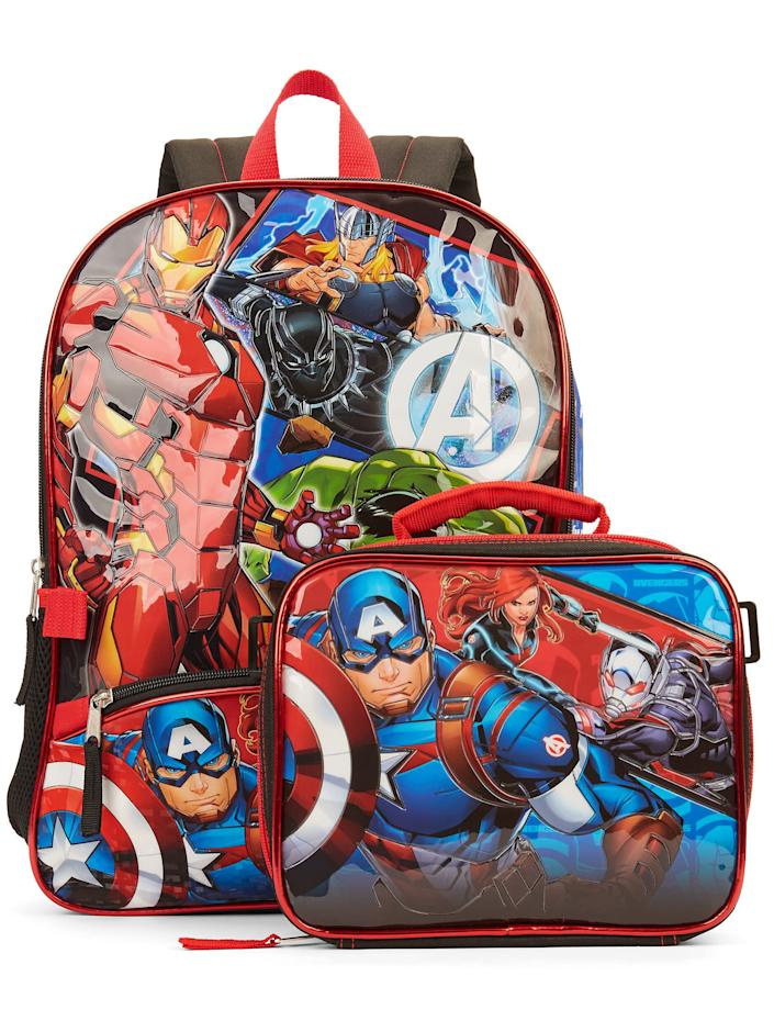 """Find this <a href=""""https://fave.co/2X19EH0"""" rel=""""nofollow noopener"""" target=""""_blank"""" data-ylk=""""slk:Avengers backpack with matching lunch bag"""" class=""""link rapid-noclick-resp"""">Avengers backpack with matching lunch bag</a> for $15 at <a href=""""https://fave.co/2X19EH0"""" rel=""""nofollow noopener"""" target=""""_blank"""" data-ylk=""""slk:Walmart"""" class=""""link rapid-noclick-resp"""">Walmart</a>."""