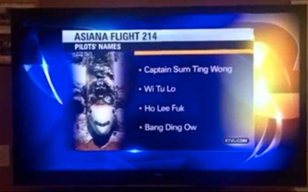 No, These Racist 'Asian' Names Aren't Really the Pilots of Asiana Flight 214