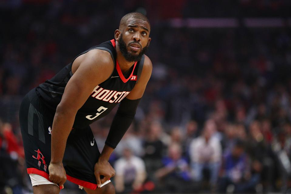 LOS ANGELES, CALIFORNIA - APRIL 03: Chris Paul #3 of the Houston Rockets looks on during the first half of the game against the Los Angeles Clippers at Staples Center on April 03, 2019 in Los Angeles, California. NOTE TO USER: User expressly acknowledges and agrees that, by downloading and or using this photograph, User is consenting to the terms and conditions of the Getty Images License Agreement. (Photo by Yong Teck Lim/Getty Images)