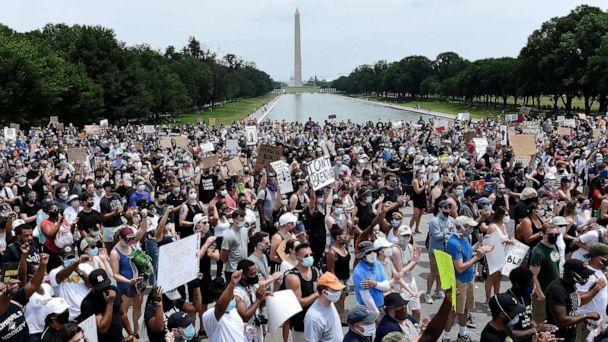 PHOTO: Demonstrators gather at the Lincoln Memorial during a peaceful protest against police brutality and racism, June 6, 2020, in Washington, DC. (Olivier Douliery/AFP via Getty Images)