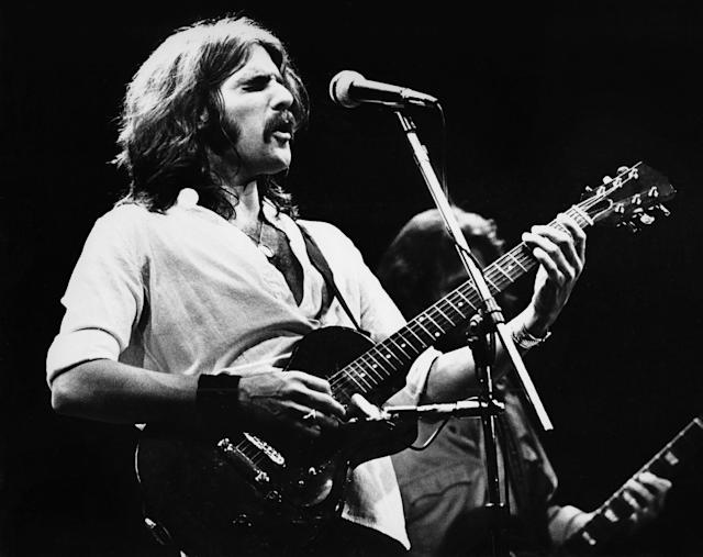 <p>Glen Frey, the singer-songwriter known as a founding member of The Eagles, died January 18 at age 67. — (Pictured) Glenn Frey of The Eagles performs on stage at Ahoy in 1977 in Rotterdam, Netherlands. (Gijsbert Hanekroot/Redferns via Getty Images) </p>