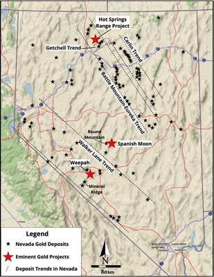 Figure 1. Plan view map of Nevada and the major gold trends and associated deposit locations. The Weepah Project is in the central portion of the Walker Lane Trend. (CNW Group/Eminent Gold Corp.)