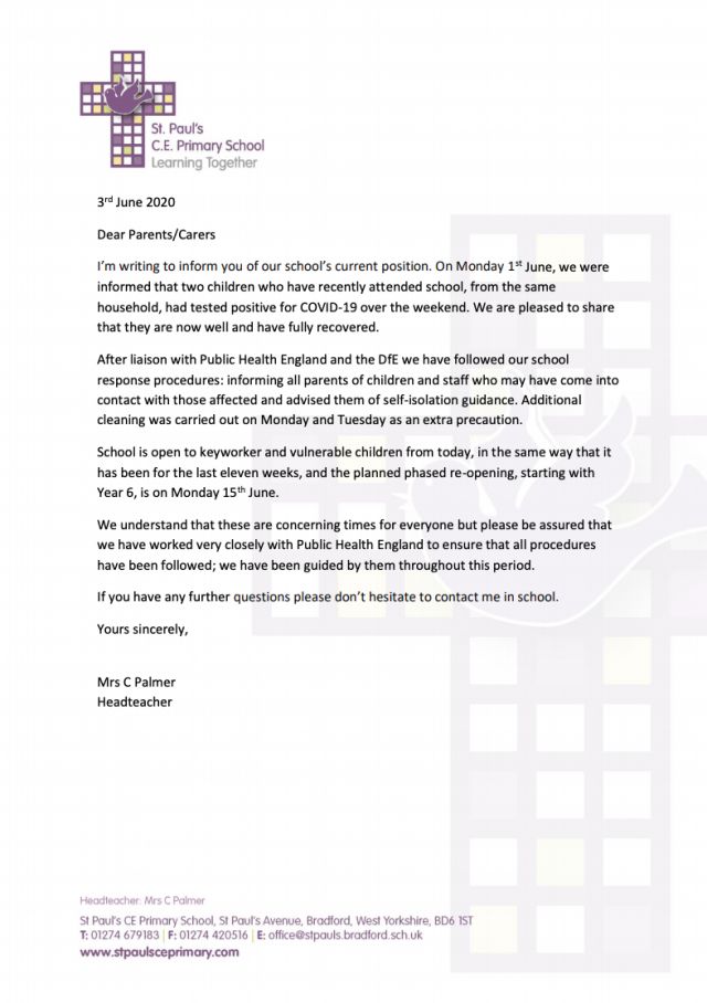 Headteacher Cath Palmer wrote to parents to inform them. (Picture: St Paul's CE Primary School)