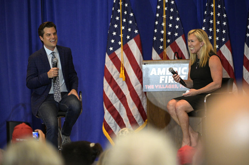 Rep. Matt Gaetz, left, and Rep. Marjorie Taylor Greene at a rally on May 7 in the Villages, Fla. (Phelan M. Ebenhack/AP)