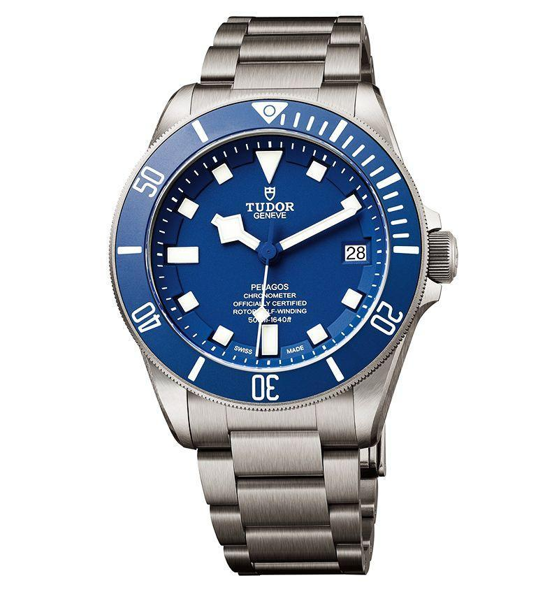 "<p><strong>$4,575</strong></p><p><a class=""link rapid-noclick-resp"" href=""https://www.tudorwatch.com/en/watches/pelagos/m25600tb-0001"" rel=""nofollow noopener"" target=""_blank"" data-ylk=""slk:LEARN MORE"">LEARN MORE</a></p><p>When the Tudor Pelagos first launched in 2012 it was the first watch ever to be issued from the Rolex stable in titanium. This is a serious diving watch, rated to 500m or (1,670 feet), significantly greater than most commercial watches. And at under $5,000 for a certified chronometer, it's also a serious investment watch for the price, like bringing an M-1 Abrams to a knife fight. In a respectful nod to big brother Rolex, which developed it, the Pelagos carries a helium escape valve on the side, and a no-nonsense, crystal-clear readout crowned with the signature Tudor ""Snowflake"" hour hand. Of course, you only notice all of that when you get over the breathless beauty of the dial and bezel (introduced in 2015) in a shade of ocean blue so deep you want to swim in it for ever.</p>"