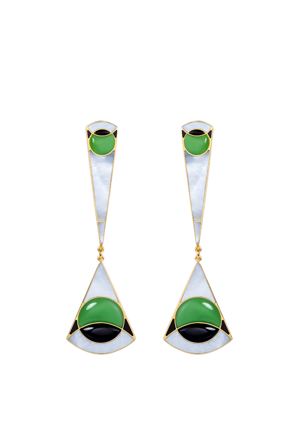 """<p><strong>Monica Sordo</strong></p><p>maison-de-mode.com</p><p><strong>$785.00</strong></p><p><a href=""""https://maison-de-mode.com/products/ennio-earrings-long"""" rel=""""nofollow noopener"""" target=""""_blank"""" data-ylk=""""slk:Shop Now"""" class=""""link rapid-noclick-resp"""">Shop Now</a></p><p>As with all of Monica Sordo's jewelry, these Art Deco-inspired Mother of Pearl, Lechuguita, and Black Onyx chandelier earrings are handcrafted by local artisans in Lima, Peru. </p>"""