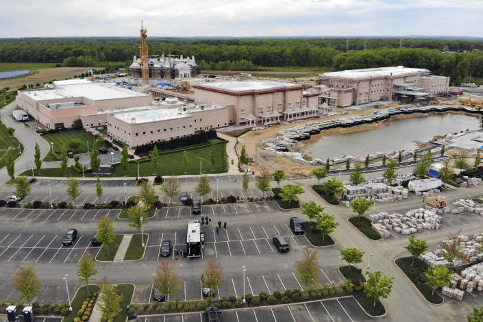 A view of the BAPS Shri Swaminarayan Mandir in Robbinsville Township, N.J., Tuesday, May 11, 2021. A lawsuit claims workers from marginalized communities in India were lured to New Jersey and forced to work more than 12 hours per day at slave wages to help build a Hindu temple. (AP Photo/Ted Shaffrey)