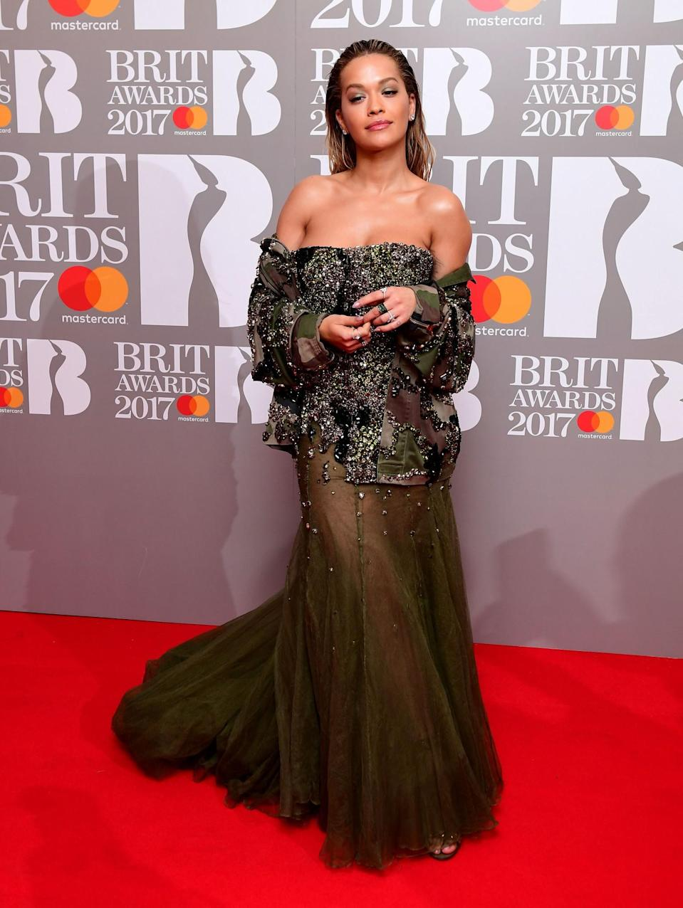 <p>Rita glammed up in an embellished khaki creation by Alexandre Vauthier. <i>[Photo: PA]</i> </p>