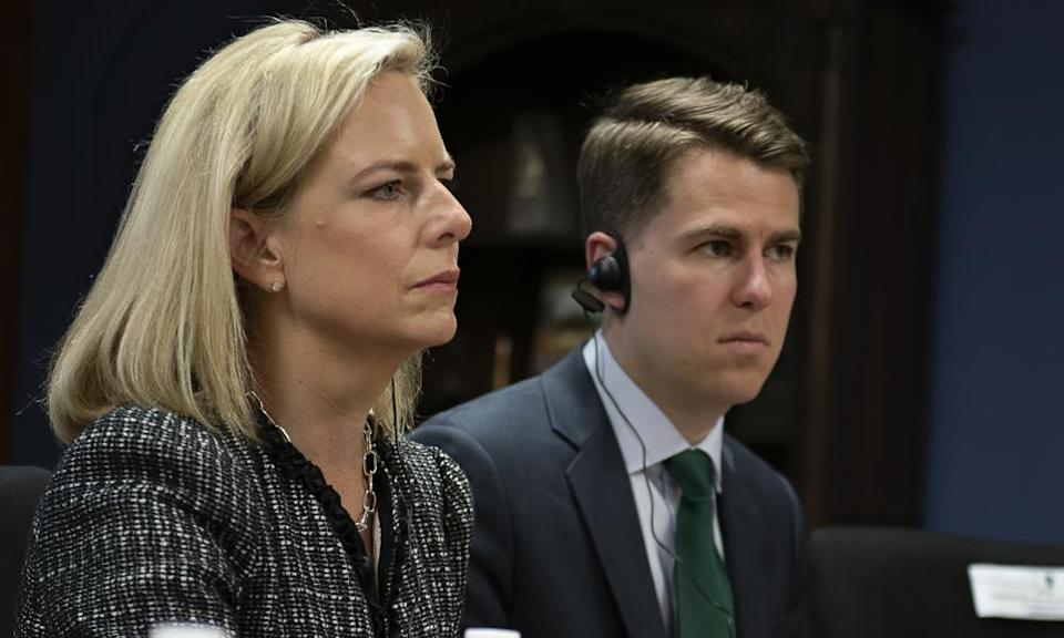 Kirstjen Nielsen, then secretary of homeland security, and Miles Taylor, then homelands security chief of staff, on 27 March 2018.