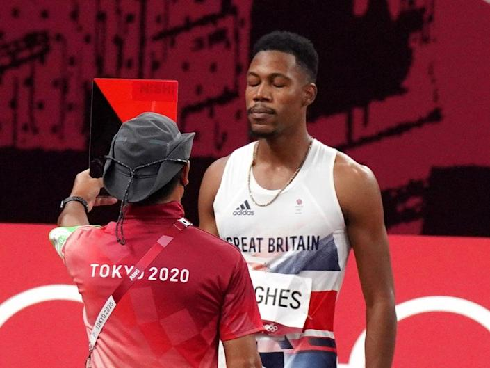 Zharnel Hughes was disqualified from the men's Olympic 100 metres final (Martin Rickett/PA) (PA Wire)