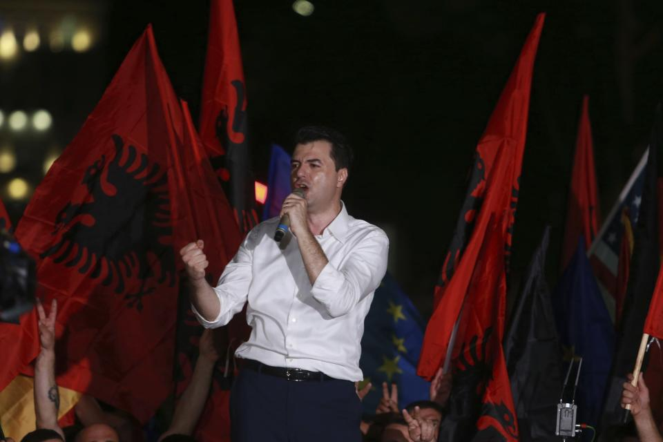 Main opposition Democratic Party leader Lulzim Basha delivers a speech during an antigovernment rally in Tirana, Friday, June 21, 2019. The opposition is boycotting the local elections planned for June 30 and has threatened to disrupt them. (AP Photo/Hektor Pustina)