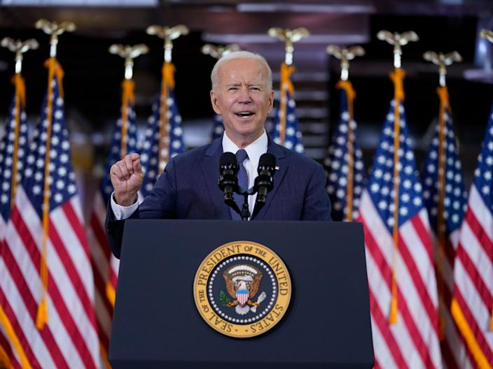 <p>President Joe Biden delivers a speech on infrastructure spending at Carpenters Pittsburgh Training Centre on Wednesday 31 March 2021, in Pittsburgh</p> ((AP))