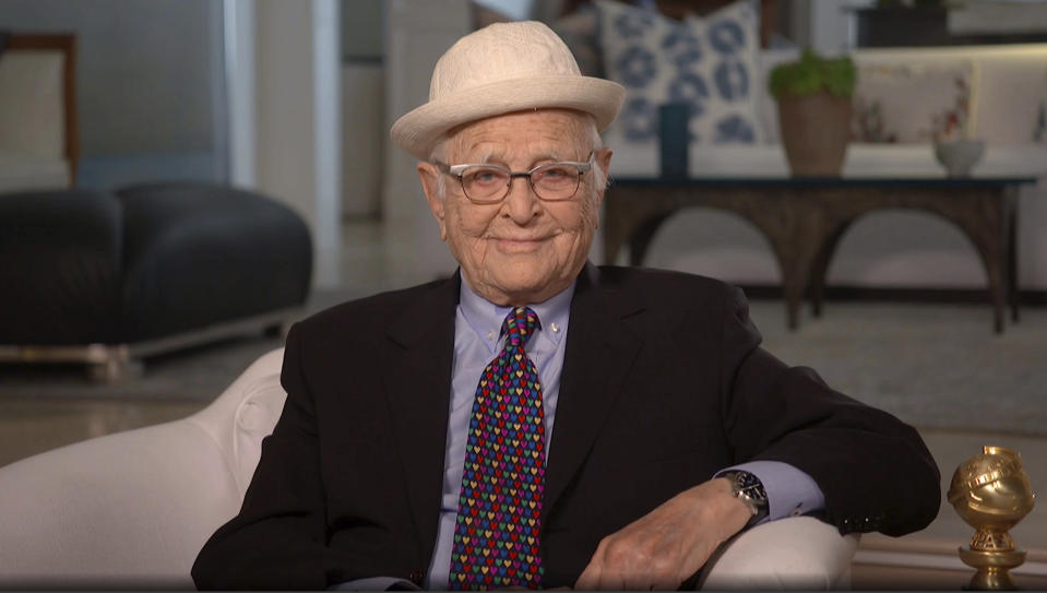 In this video grab issued Sunday, Feb. 28, 2021, by NBC, Norman Lear accepts the Carol Burnett television achievement award at the Golden Globe Awards. (NBC via AP)