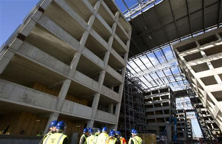 Exterior view of the new NATO headquarters currently under construction in Brussels