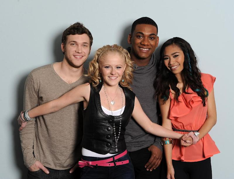 "In this May 3, 2012 photo released by Fox, the remaining competitors from the singing competition series, ""American Idol,"" from left, Phillip Phillips, Hollie Cavanaugh,  Josh Ledet and Jessica Sanchez, are shown in Los Angeles. The final four will compete on Wednesday May 9, with another contestant being voted off on Thursdays results show. (AP Photo/Fox, Michael Becker)"