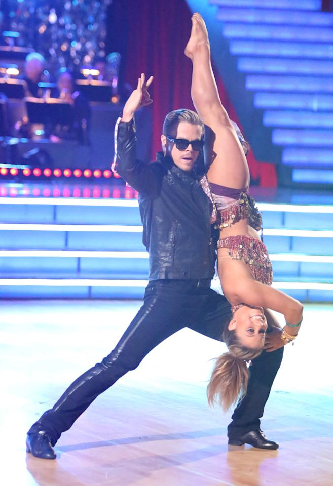 "Derek Hough and Shawn Johnson perform on ""Dancing With the Stars: All-Stars."""