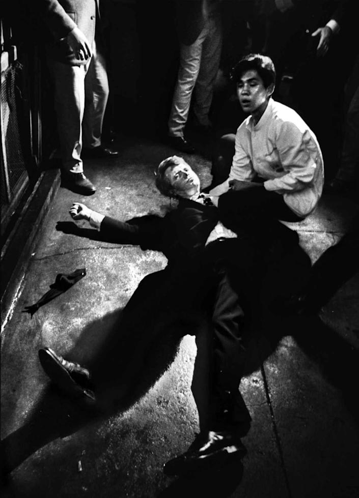 Robert F. Kennedy on the floor at the Ambassador Hotel after being shot.