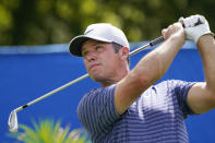 Paul Casey, of England, drives on the 10th hole during the first round of the Wyndham Championship golf tournament at Sedgefield Country Club on Thursday, Aug. 13, 2020, in Greensboro, N.C. (AP Photo/Chris Carlson)