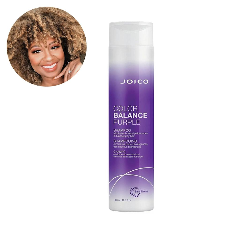 "Joico's Color Balance Purple Shampoo was actually the shampoo my stylist recommended to me when I went blonde again a few years ago. She said it was amazing for maintaining the ashy tones and also keeping the brassiness and frizz away since I have curly hair. —<em>C.B.</em> $36, Joico. <a href=""https://shop-links.co/1735265441980849593"" rel=""nofollow noopener"" target=""_blank"" data-ylk=""slk:Get it now!"" class=""link rapid-noclick-resp"">Get it now!</a>"