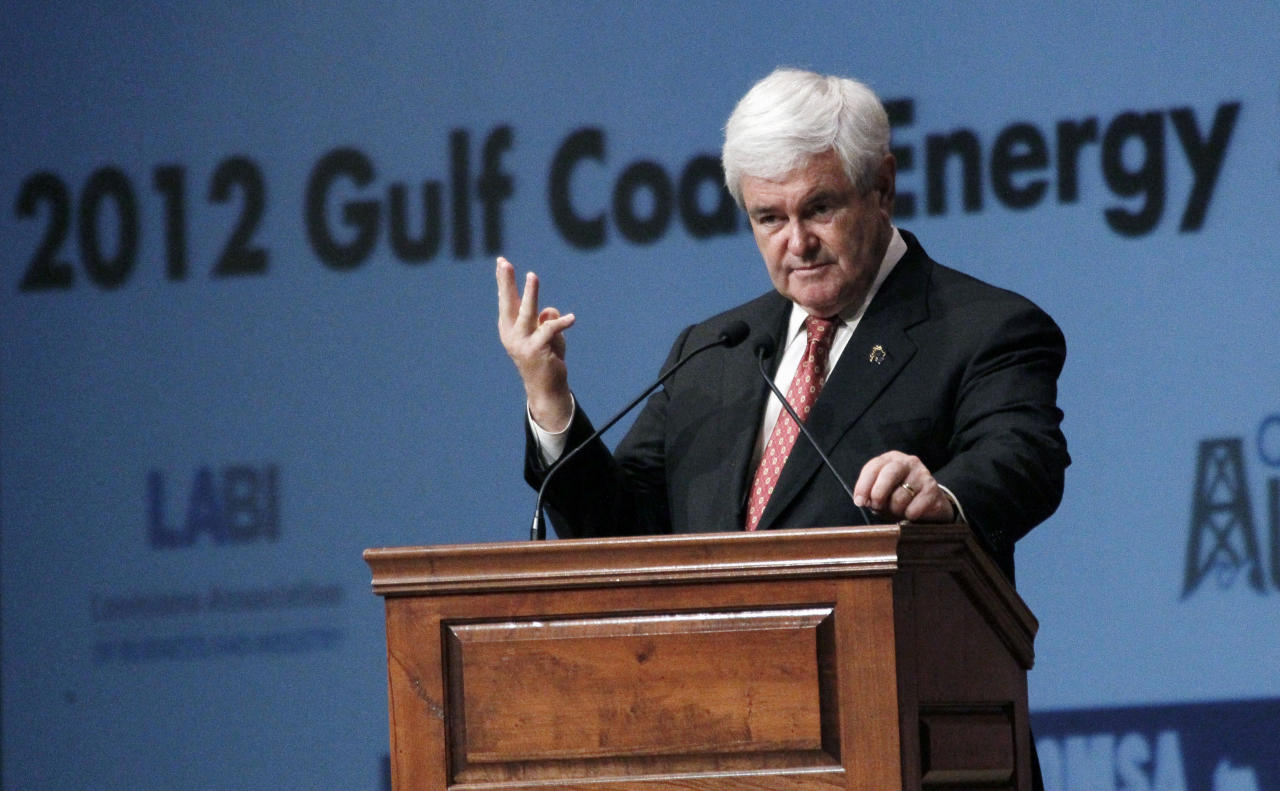 Republican presidential candidate former House Speaker Newt Gingrich speaks at the Gulf Coast Energy Summit in Biloxi, Miss., March 12, 2012. (AP Photo/Rogelio V. Solis)