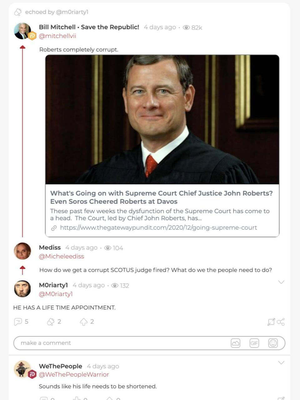 """WeThePeopleWarrior posts in response to a comment about """"corrupt"""" Supreme Court Chief Justice John Roberts. (Photo: Screen Shot/Parler/WeThePeopleWarrior)"""