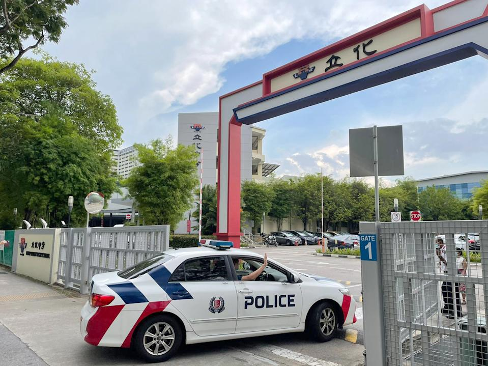 A police car seen entering the River Valley High School campus on 19 July. (PHOTO: Dhany Osman / Yahoo News Singapore)