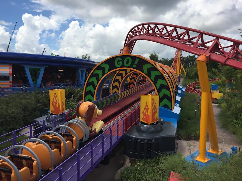 Slinky Dog Dash is the first Disney coaster to have a second mid-ride launch,getting pulled back and flung slingshot-style through this tunnel.