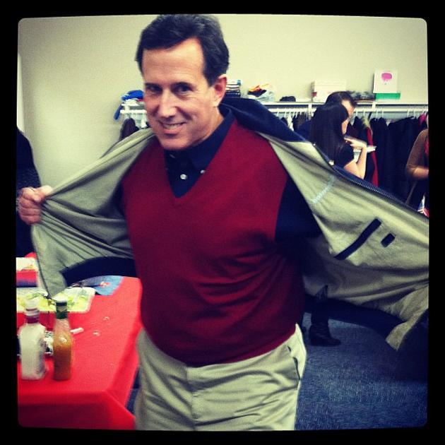 """Santorum's Sweater Vests  Rick Santorum took signature style to a new, geeky level with his penchant for the sweater vest--at one point offering supporters who donated more than $100 to his campaign their own, 100% cotton, made-in-America garment. """"Don't let sleeves slow you down,"""" the campaign pitched, """"Donate today!""""  We'll let Scarlett Johansson take this one: """"Oh gosh, so sad,"""" THE ACTRESS SAID WHERE? WHEN? My dad wore them and I mean they're charming for family photos I guess and dinner with the grandparents. I think there's an ironic way to wear a sweater vest but other than that I'm not sure."""" (Photo courtesy @AnthonyNBCNews/Instagram"""